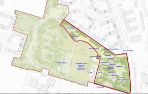 Ein Teilbereich des künftigen Klimaparks am Salzsenderweg (rot umrandet) soll vor dem Bau des Wilhelm-Hausenstein-Gymnasiums (WHG) realisiert werden, obwohl die Ausmaße der Schule noch nicht bekannt sind.       Lageplan: Baureferat / Landschaftsarchitekten Burkhardt/Englmayer / Bearbeitung: hgb
