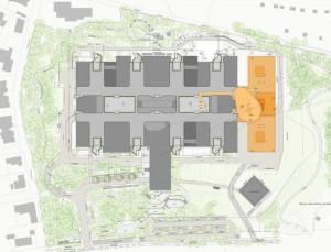 Der Erweiterungsbau (orange) des Klinikums Bogenhausen. Der Hubschrauberlandeplatz wird auf dem Dach des Gebäudes angelegt.     Plan: Städtisches Klinikum München